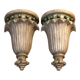 Pair of Hollywood Regency Style Paint Decorated Carved Wood Corbel Sconces