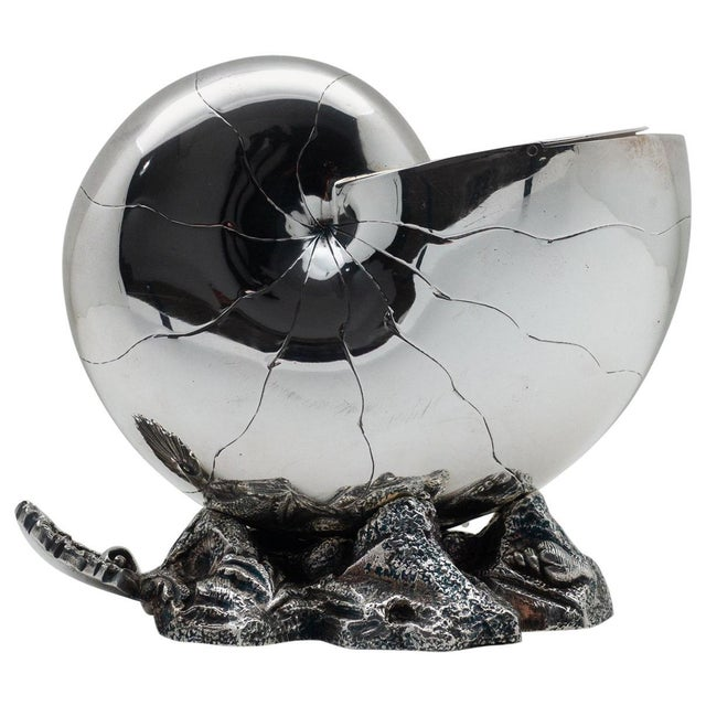 1870 English Nautilus Spoon Warmer, Silver Plated For Sale - Image 9 of 9
