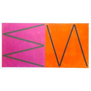 Orange & Pink Abstract by Joaquim Chancho For Sale