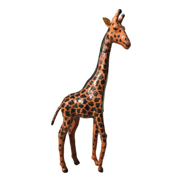 Vintage Bohemian Leather Giraffe - Image 1 of 8