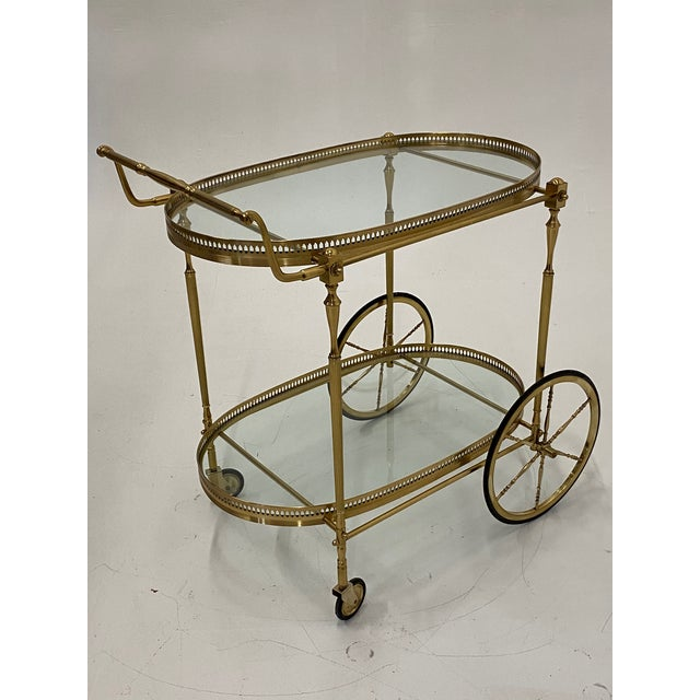 Labarge Mid-Century Modern Oval Brass & Glass Bar Cart For Sale - Image 4 of 12