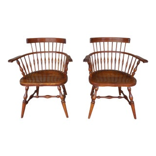 L & J G Stickley Fan Back Windsor Style Cherry Valley Pair Arm Chairs