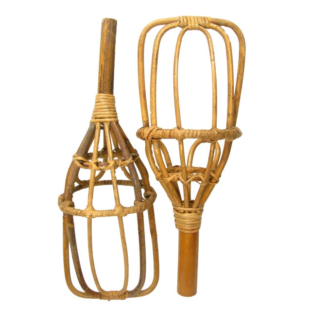 Mid-Century Jai Alai Style Rattan Scoops, A Pair For Sale