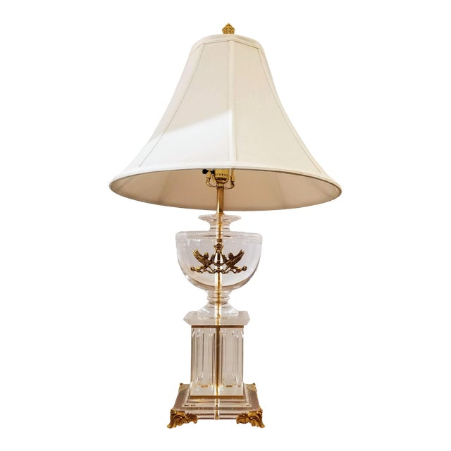Neoclassic Greek Revival Lucite and Gilt Table Lamp With Sphinx and Lyre For Sale
