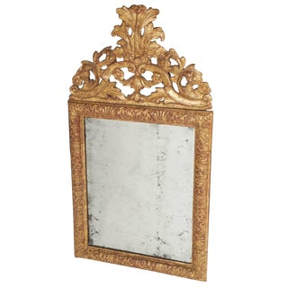Baroque Carved Giltwood Mirror With Original Plate, Denmark, Circa 1700 For Sale