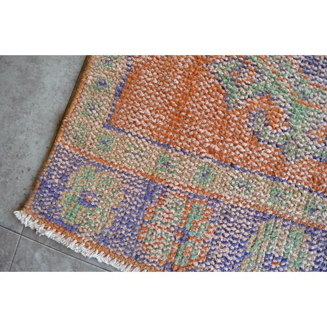 """Textile Faded Colors Runner Low Pile Distressed Oushak Rug Runner - 2'11"""" X 11'10"""" For Sale - Image 7 of 9"""
