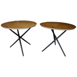 Pair of Modern Tripod Side Tables by Hans Bellmann For Sale