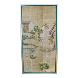 19th Century Chinese Hand Painted Wallpaper Panel, Framed For Sale