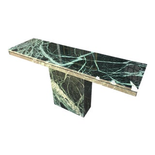 1970s Italian Verde Green Marble Console Table For Sale