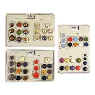Brightly Colored Button Sample Cards - Set of 3 For Sale