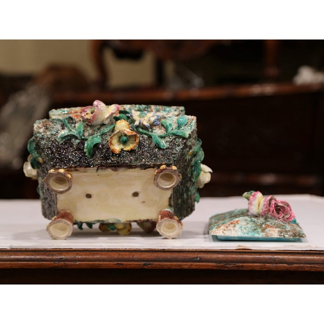 19th Century French Painted Ceramic Barbotine Decorative Box With Floral Motif For Sale - Image 10 of 11