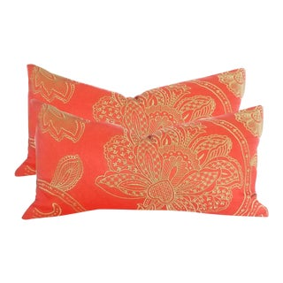Manuel Canovas Bright Orange Large Embroidered Lumbar Pillows - a Pair