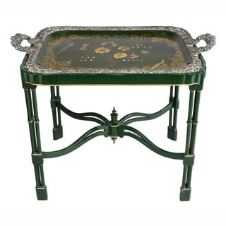 Victorian Papier Mache and Silver Plated Tray Table Preview