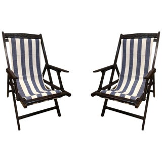 British Campaign Folding Rosewood Patio or Veranda Arm Chairs- A Pair For Sale