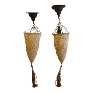 Fortuny Silk Cesendello Sconces - A Pair For Sale