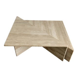 Post-Modern Italian 2-Piece Tiered Travertine Coffee Table For Sale