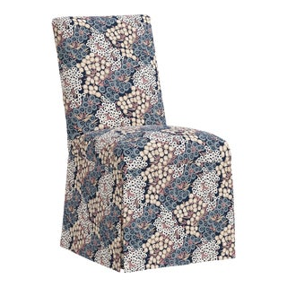 Slipcover Dining Chair in Loiret Navy Blush For Sale