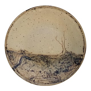 Vintage Abstract Landscape Pottery Wall Art Plate For Sale