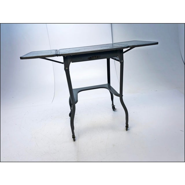 Vintage Industrial Gray Metal Typewriter Table with Double Drop Leaf For Sale - Image 5 of 13