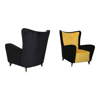 Pair of Restored Ico Parisi Armchairs From 1950 For Sale