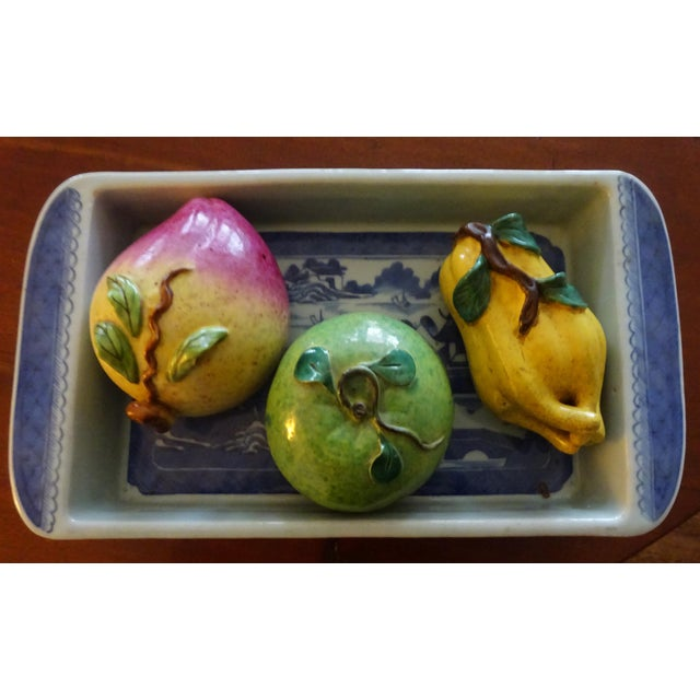 Mid 19th Century Antique Rectangular Canton Bulb Bowl & Chinese Altar Fruit Figures- 4 Pieces For Sale - Image 9 of 9