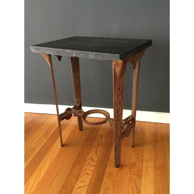 Early 20th Century Early 20th Century Art Deco Marble and Iron Side Table For Sale - Image 5 of 5