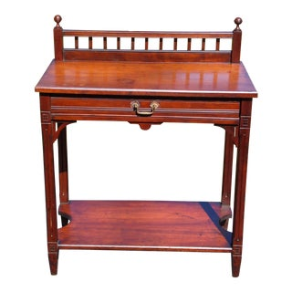 Antique 19th C American Victorian Eastlake Walnut Library Entry Table Washstand For Sale