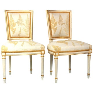 Cream & Gilt Accent Chairs by Baker - A Pair For Sale