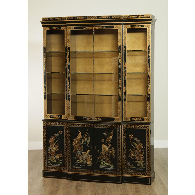 Traditional Drexel Heritage Et Cetera Black & Gold Asian Chinoiserie Breakfront For Sale - Image 3 of 13