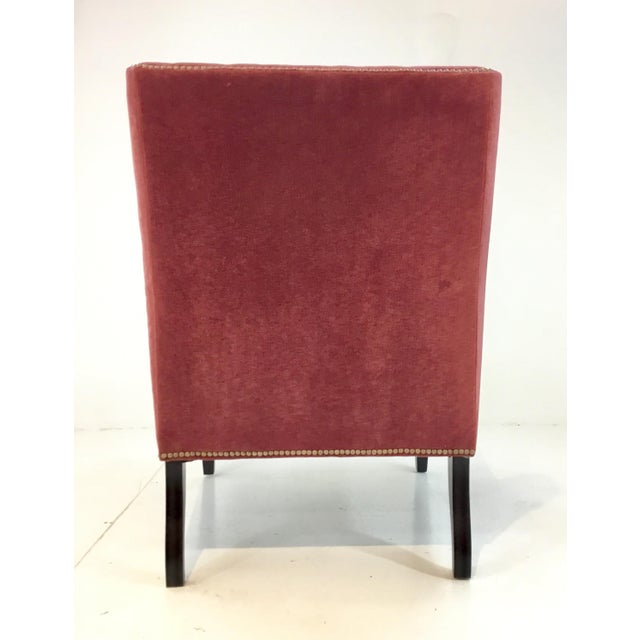 2010s Stylish Modern Thomasville Red Velvet Chandon Club Chair For Sale - Image 5 of 6