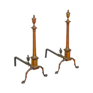 Chippendale Style Antique Brass Claw Foot Andirons - a Pair For Sale