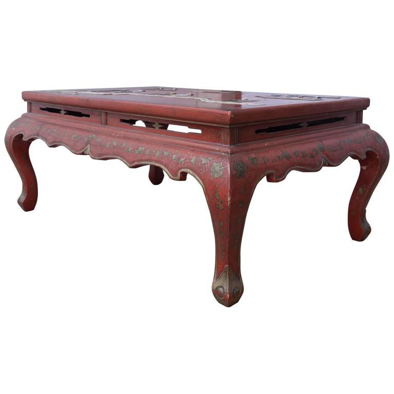 Chinese Red Lacquered Hard Stone Kang Coffee Table