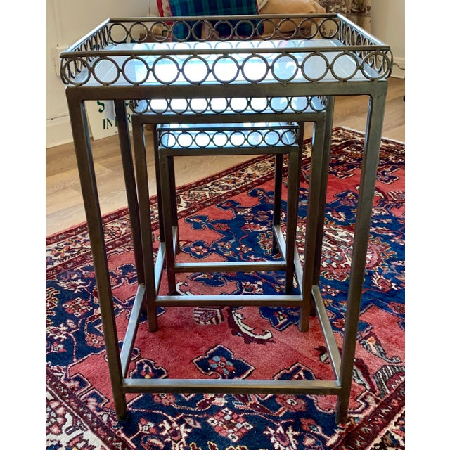Hollywood Regency Iron-Frame Nesting Tables With Marble Top - Set of 3 For Sale - Image 4 of 6