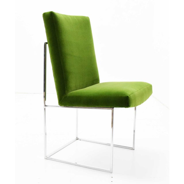 Bauhaus 1970s Vintage Milo Baughman Dining Chairs in Italian Velvet - Set of 8 For Sale - Image 3 of 11