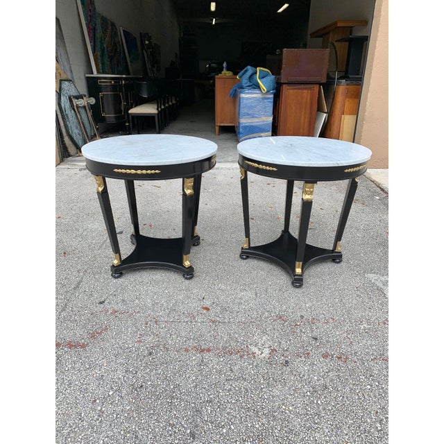 1910s Antique French Empire Marble Top Accent Tables or Gueridon Tables - a Pair For Sale - Image 10 of 13