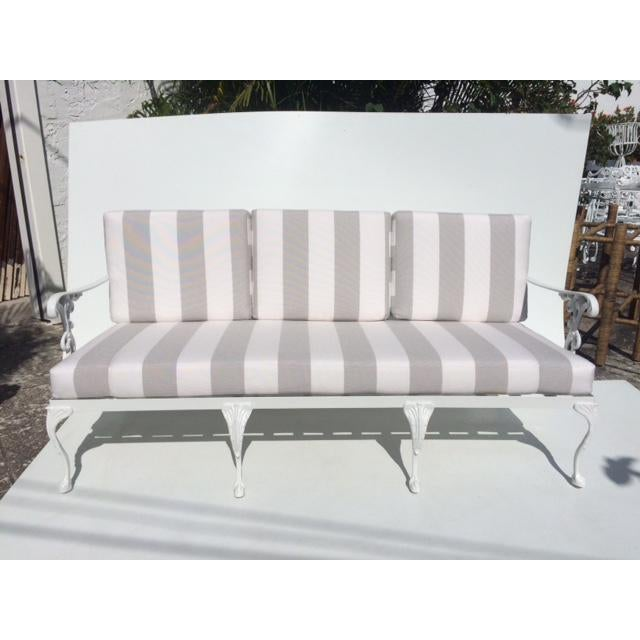 Metal Garden Sofa With Sunbrella Cushions For Sale - Image 13 of 13