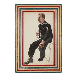 Vintage World War II Framed Sailor Illustration For Sale