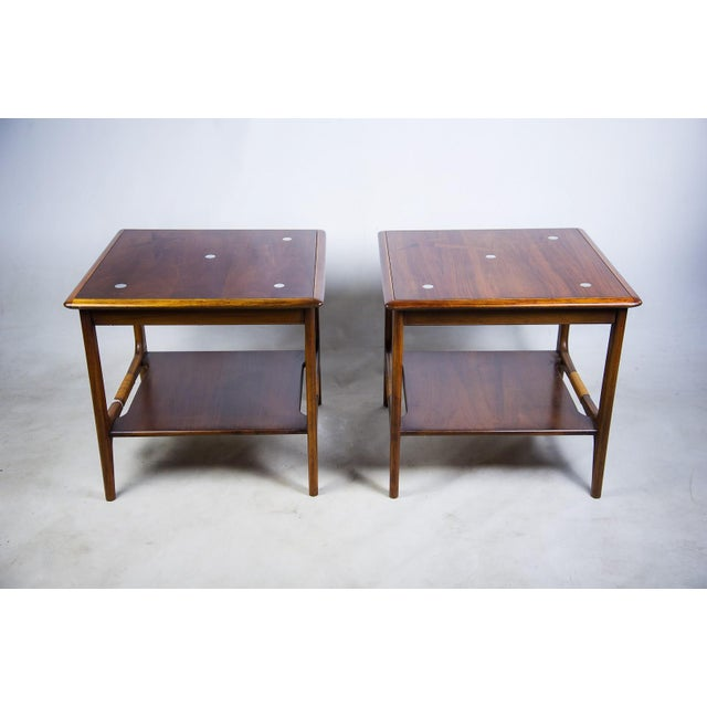 Constellation Walnut & Metal Tables - A Pair - Image 2 of 11