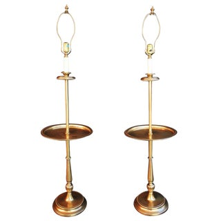 Solid Brass Floor or Reading Lamps by Frederick Cooper - A Pair For Sale