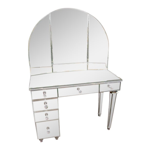 Art Deco Style Mirrored Dressing Table For Sale