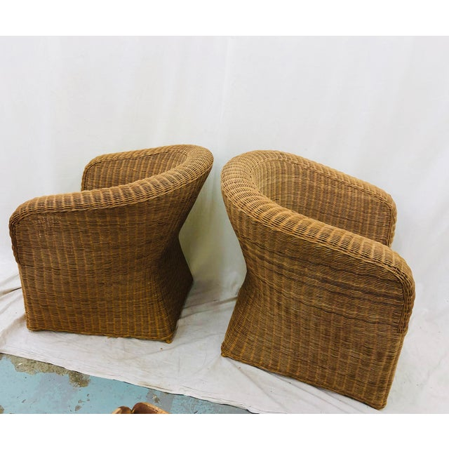 Pair Vintage Woven Wicker Club Chairs For Sale In Raleigh - Image 6 of 10