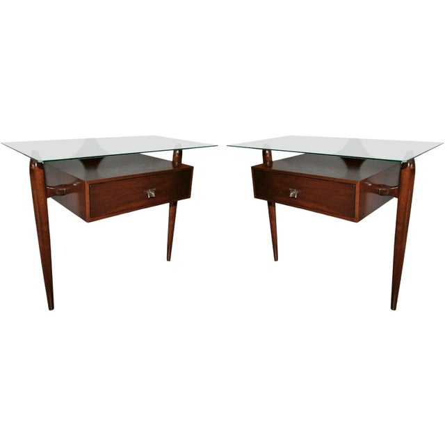 Scapinelli Glass Top Nightstands - a Pair For Sale - Image 9 of 9