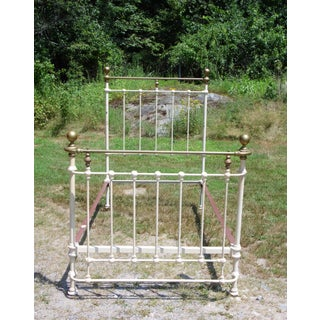Vintage Cannonball Brass & Cast Iron French Country Shabby Chic Twin Bed Frame Preview