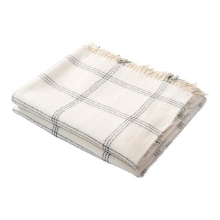 Contemporary Cream Windowpane Alpaca Throw For Sale