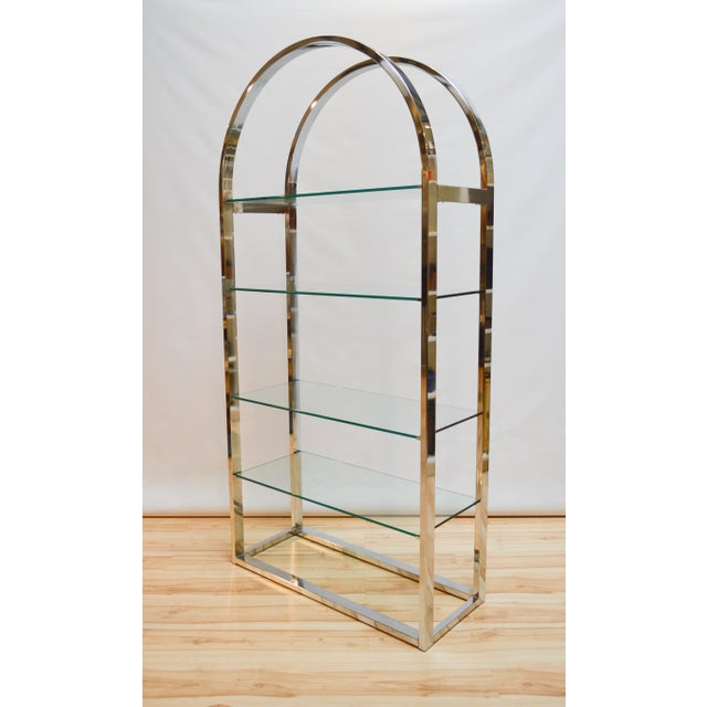 Milo Baughman-Style Arched Chrome & Glass Etagere - Image 3 of 7