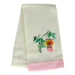 Japanese Lantern Linen Tea Towel For Sale