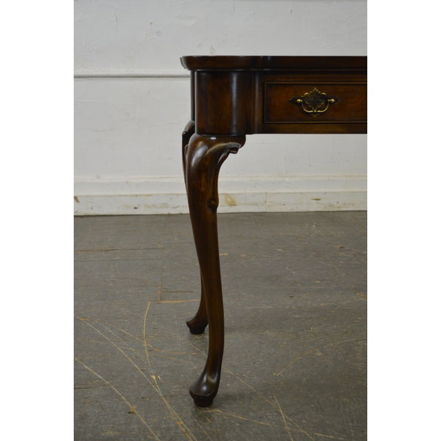 Brown Hekman Burl Wood Queen Anne 2 Drawer Console Table For Sale - Image 8 of 11