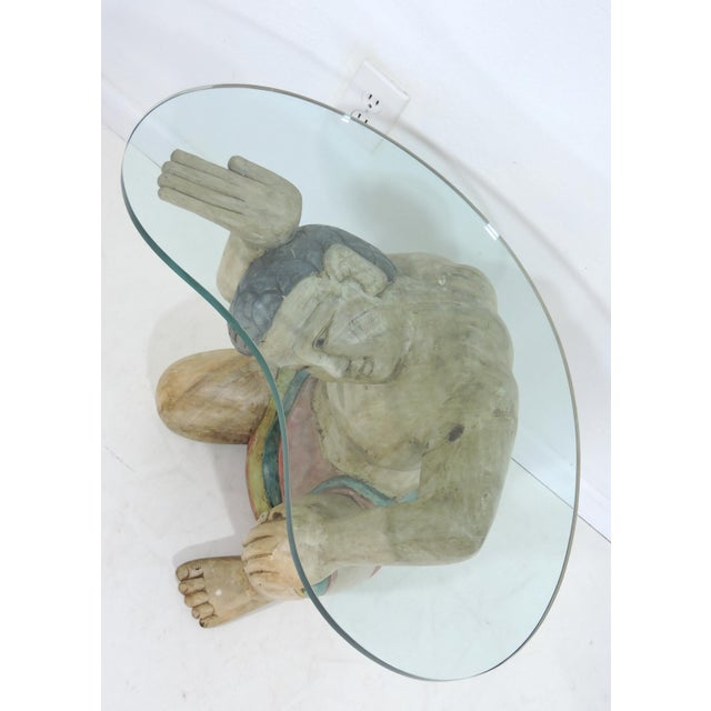 Mid 20th Century Vintage Kneeling Polynesian Male Coffee or Side Table, Kidney Shaped Glass Top For Sale - Image 5 of 5