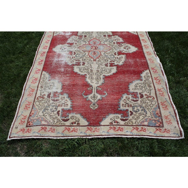Tribal Vintage Turkish Anatolian Handmade Home Decorative Red Color Area Size Rug- 5′7″ × 8′3″ For Sale - Image 3 of 9