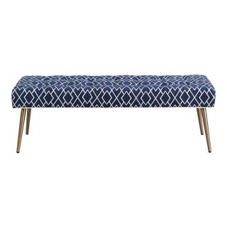 Blue Geometric Chenille Bench With Metal Legs For Sale